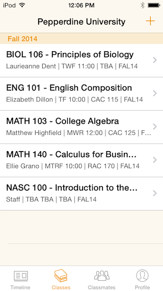 Classes schedule